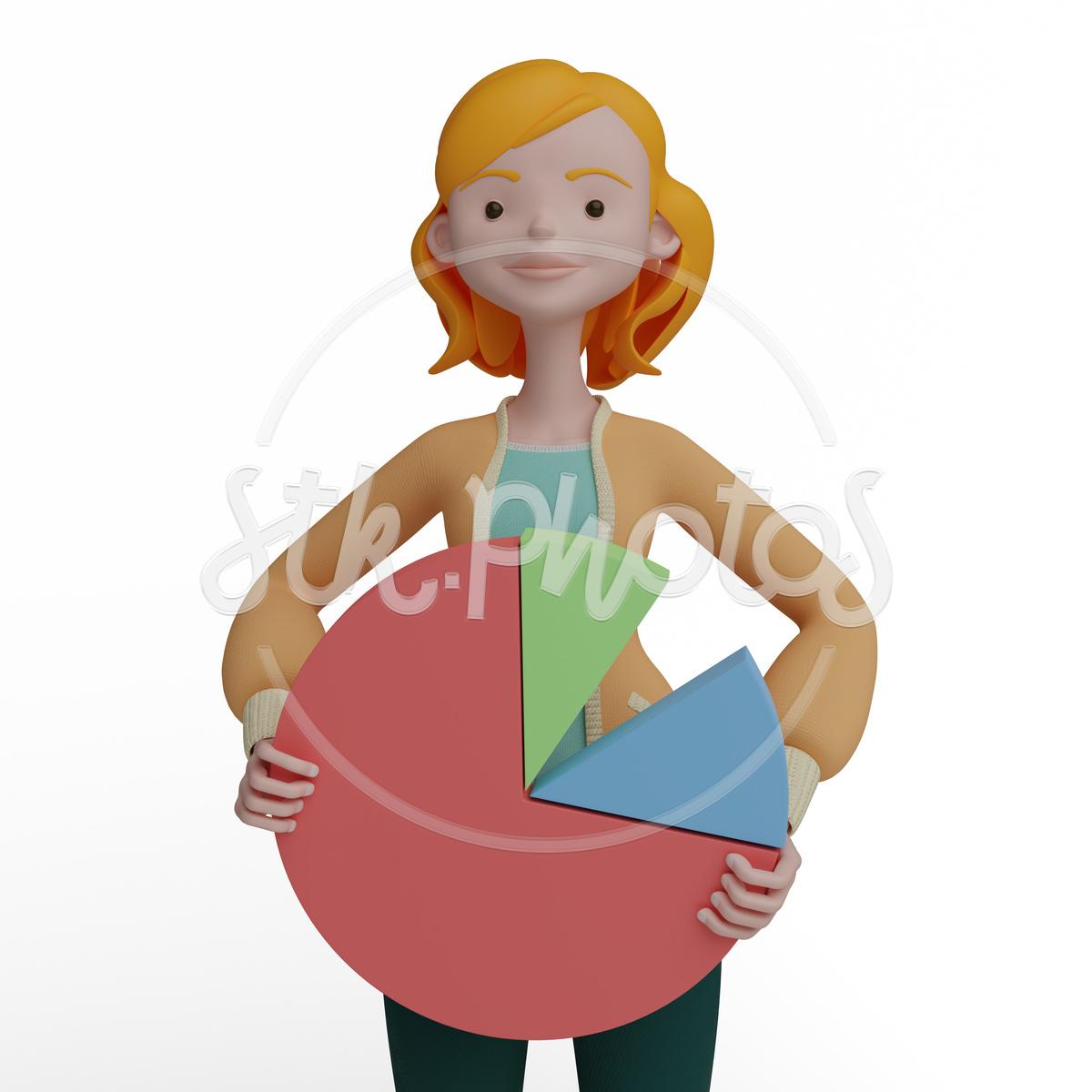Banner Girl Marketing Pie Chart Beautiful 3d Web Man Women